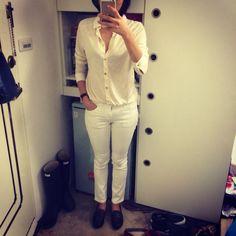 White on white.  Uniqlo white skinny x Ann Taylor shirt x Steven by Steve Madden loafer.