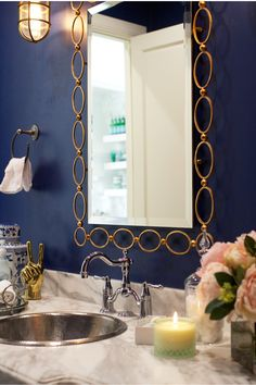 My Style At Home The Powder Room Navy Blue Bathroomssilver