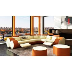Tendance salopette 2017  Divani Casa 3087  Modern Beige and Orange Bonded Leather Sectional Sofa & C