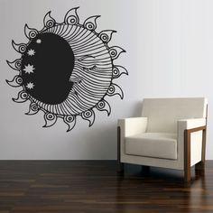 Wall Vinyl Sticker Decals Decor Art Bedroom Design Mural Sun Crescent Dual Ethnical Stars Symbol Moon (z2707) on Etsy, $28.99