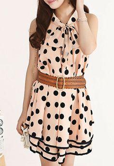 Sweet Polka Dot Bowknot Loose Fit Layered Tank Dress