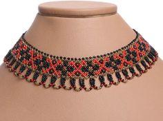 Traditional Ukrainian Folk Handmade Beaded NECKLACE Gerdan: Black /Red /Gold