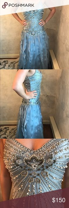 Beaded backless blue dress Amazing beaded scooped back blue dress with ruffle detail bottom! Worn once! Sue Wong Dresses Prom