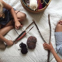 We're stick weaving on this cloudy morning ☁️