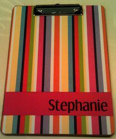Striped  Personalized Clipboard by Slimdigm on Etsy, $17.00