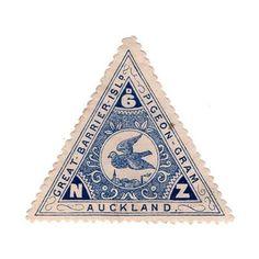 New Zealand, Great barrier island pigeon-gram stamp: Rare Stamps, Vintage Stamps, Vintage Labels, Logo Label, Postage Stamp Design, Going Postal, Photocollage, Mail Art, Stamp Collecting