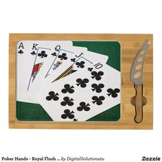 Poker Hands - Royal Flush - Clubs Suit Cheese Platter