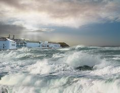 Stormy seas at Bowmore Distillery, Isle of Islay...must get here! My family once owned this distillery. Scotland.