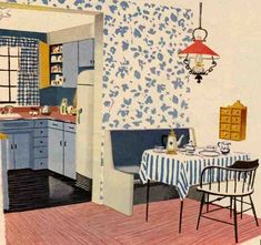 """""""Meet the Austins"""" recently linked to my site saying they liked one of my living room post illustrations. So, I dug up these two 1957 kitchens for them, too. What do you think, Austins? Like so many other elements of postwar homes, these kitchens very often had a Colonial flair. The paint colors are like …"""