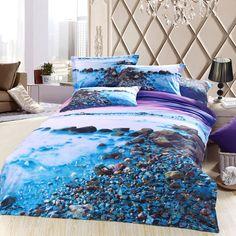 Beach Purple Bedding Sets Duvet Cover Sets Teen Bedding Dorm Bedding 3D Bedding Landscape Bedding Gift Ideas