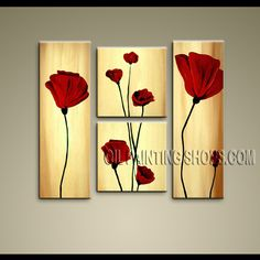 Stunning Modern Abstract Painting Oil Painting On Canvas For Bed Room Poppy Flowers. This 4 panels canvas wall art is hand painted by Bo Yi Art Studio, instock - $135. To see more, visit OilPaintingShops.com