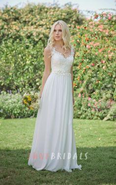 Long Chiffon Lace Weddig Dress With Beading Flower