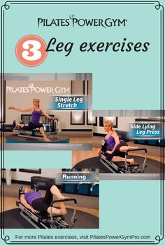 Check out these leg exercises on the Pilates Power Gym - great for beginners to tone and strengthen your muscles. #PilatesReformer