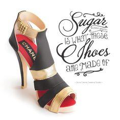 Chanel Sugar Shoe (and a Designer Cake to Match) — De la Crème Creative Studio High Heel Cakes, Shoe Cakes, Diva Cakes, French Vanilla Cake, Handbag Cakes, White Chocolate Mousse, Garment Bags, Fashion Cakes, Wedding Cake Designs