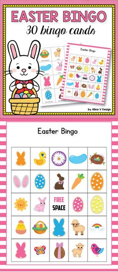 This  Easter bingo printable is the perfect activity for groups of students of all ages to play at the table.  It's easy, fun and your kindergarten and elementary children will love this idea. #spring #easter #bingo #game #activities #kindergarten #school #cards #printablesforkids