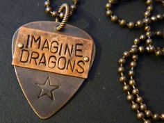 Imagine Dragons Guitar Pick Mixed-Metal Pendant and Altered Natural Brass Ball Chain Necklace