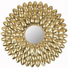Safavieh Royal Leaf Sunburst Mirror, I bet I can DIY this with spray paint and plastic spoons. White Wall Mirrors, Rustic Wall Mirrors, Round Wall Mirror, Diy Mirror, Spoon Mirror, Mirror Bedroom, Mirror Art, Mirror Ideas, Gold Mirrors