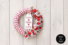 H.O.M.E. #Dress #Up #Your #Door or #Wall with this #DIY #red and #white #love #home #life #wreath #handmade #interior #decoration Love Home, 4th Of July Wreath, Burlap Wreath, Wreaths, Decoration, Interior, Wall, Red, Handmade