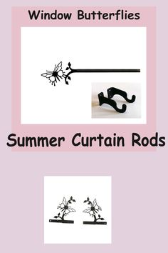 Decorate summer curtain rods with butterflies. The Butterfly curtain rod has a lovely design which would create a cheerful window treatment for a bedroom, den, bath or kitchen. Made with durable black wrought iron. This adjustable curtain rod features a sturdy, half inch diameter. Curtain Brackets, Curtain Hardware, Decorative Curtain Rods, Wrought Iron, Window Treatments, Den, Butterflies, Cheer, Windows