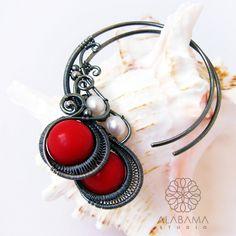 Coral hoops - srebrne kolczyki-koła z koralem / Alabama / Biżuteria / Kolczyki