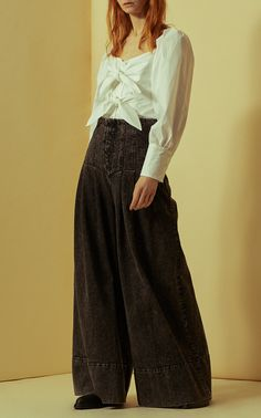 Sea black denim corset pants