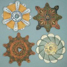 4-Antique-Cardboard-Silk-Thread-Winders-French-British-Circa-1900s