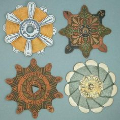 4-Antique-Cardboard-Silk-Thread-Winders-French-British-Circa-1900s