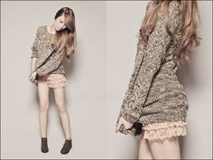 Forever 21 Lace Up Suedette Boots, Forever 21 Oversized Sweater, Forever 21 Tiered Lace Shorts, Forever 21 Necklace Tricia Gosingtian, Lace Sweater, Slouchy Sweater, All About Fashion, Street Style Women, Lace Shorts, Cute Outfits, My Style, Womens Fashion