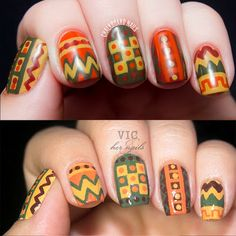Vic and Her Nails: VicCopycat 2013 - Chalkboard Nails' 70s Crochet Chic. Aztec tribal geometric nail art.