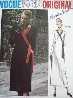 1970s Dior Front Wrap Slim Dress Pattern Vogue Paris Original 2466 Elegant Side Wrap Style Day or Evening Length Vintage Sewing Pattern UNCUT