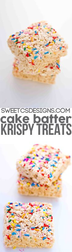 Cake Batter Krispy Treats - Sweet C's Designs