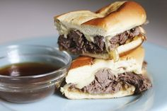 Toasted French Dip with Caramelized Onions and Swiss Cheese