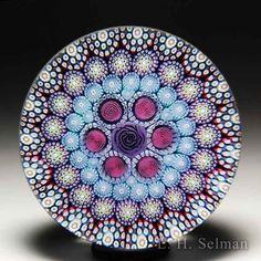 Millefiori Art Glass Paperweight Multicolored Flowers Beach Summer gift.
