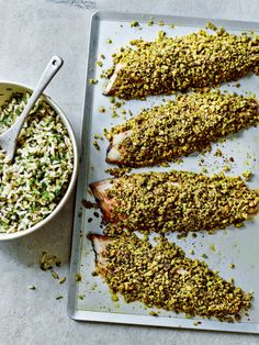 Pistachio-crusted mackerel with green rice recipe by Dale Pinnock - Place the brown rice in a pan, cover with boiling water and simmer for minutes, until the rice has softened. Preheat the oven to Get every recipe from Anxiety & Depression by Dale Pinnock Rice Recipes, Fall Recipes, Real Food Recipes, Yummy Food, Dale Pinnock, Green Rice Recipe, Mackerel Recipes, Mini Foods, Side Salad