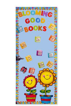 "This ""Blooming Good Books"" spring door décor idea is an upbeat and excellent way to visually remind students of their reading requirements."