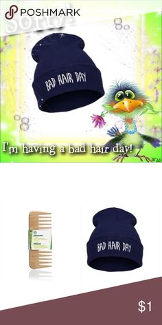 """""""Bad Hair Day"""" Beanie & TBS Detangling Comb ⚠️Gotta Comb.....? ⚠️ Dark Blue in color; letter graphic detail on front; cotton blend➕ The Body Shop Detangling Wooden Hair Comb - wide-tooth➕Eye-It...Buy-It! Fashion/The Body Shop Accessories"""