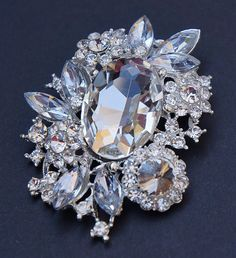 Victorian style Brooch NECKLACE PENDANT Clear by rosecarmen, $12.95