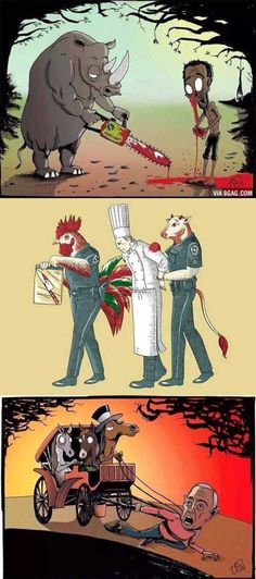 These powerful cartoons of animals / humans role reversal may make you cringe a little when you consider yourself in the same position. Sad Pictures, Unicorn Art, Parallel Universe, Arte Pop, Animal Rights, Creepy, Sketches, Cartoon, Drawings
