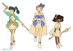 """""""some magical girls ✨"""" Vector Character, Character Design Sketches, Character Design Cartoon, Character Design References, Fantasy Character, Character Creation, Character Concept, Character Art, Character Ideas"""