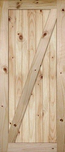 "7'0"" Tall x 36"" Wide Z-Bar V-Grooved Knotty Pine Barn Door Slab laundry closet hanging barn door"