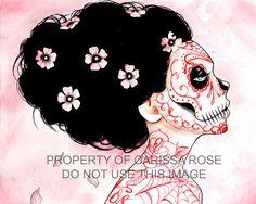 Día de los muertos inspirado a tatuado azúcar cráneo chica que