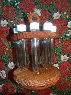 especiero de madera con 10 tubos, giratorio!