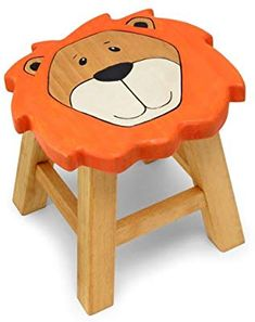 Friendly wooden jungle lion stool for children - Perfect for your little animals! Diy Furniture To Sell, Painting Kids Furniture, Children Furniture, Luxury Furniture, Antique Furniture, Wooden Art, Wooden Crafts, Kids Stool, Stool Chair