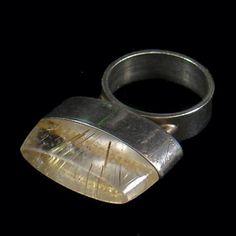 Ring   Hans Hansen. Sterling silver and Rutilated Quartz. Pre 1950, Denmark.