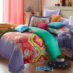 Indian Elephant Duvet Cover Set with Paisley Motifs in
