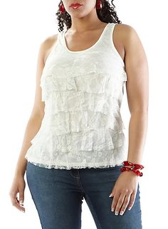 Plus-Size Lace-Tiered Tank,WHITE,