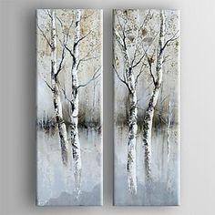 pintura al óleo moderna conjunto abstracto de lienzo pintado a mano con 2 estirada enmarcada – USD $ 101.99