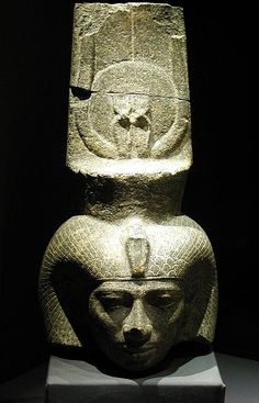 Head of Shepenupet II from National Museum, Alexandria, Egypt (They weren't able to get to the nose of this statue)