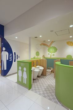 Kids Bathroom Interior Design for Commercial Spaces & Places, Daycare Design, Kids Daycare, Home Daycare, Playroom Design, Kindergarten Interior, Kindergarten Design, School Bathroom, Bathroom Kids, Restroom Design