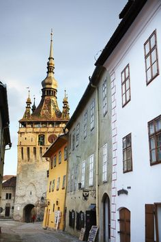 Sighișoara, Vlad Tepes birth home (yellow building) Transylvania's medieval tradition